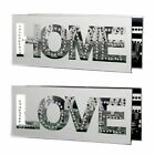 Diamante HOME/LOVE Mirrored Glass Tealight Holder Gift Ornament Holds 4 Candles