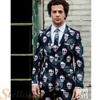 Mens Skulleton Skull Skeleton Halloween Opposuit Suit Adult Fancy Dress Costume