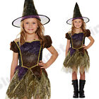 CHILDRENS KIDS GIRLS WITCH GOLD ORANGE GLITTER HALLOWEEN FANCY DRESS COSTUME