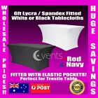6FT Fitted Spandex Lycra table cloth Fitted Trestle Tablecloths STRETCH b+w