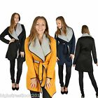 New Ladies Women's Quilted Waterfall Belted Long PVC Sleeve  Duster Coat Celeb