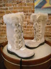Sporto Millie Winter White Suede Lace-up Winter Snow Boot NEW
