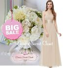 BNWT AURORA Mink Latte Beige Chiffon Maxi Prom Evening Bridesmaid Dress 6 - 18