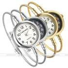 1x Women Steel Wire Band Round Case Dial Analog Quartz Bangle Wrist Watch Casual