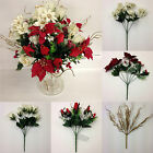 *ARTIFICIAL CHRISTMAS FLOWERS*  6 x Bunches *Roses, Poinsettias,Holly etc*