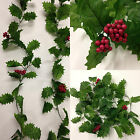 2 x Christmas Artificial  Holly Berry Garlands 1.8m Long