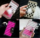 Colorful Elegant Bling Crystal Diamond Wallet PU Leather Case Cover For Wiko