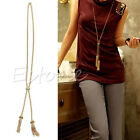 Womens Gold Plated Alloy Tassel Pendant Rhinestone Long Chain Sweater Necklace