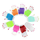 YY SHORT FISHNET FANCY DRESS FINGERLESS GLOVES NEON COLOURS FOR 80s DANCE TUTU