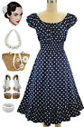 50s Style NAVY BLUE & White POLKA Dot PLUS SIZE Peasant On/Off T/Shoulder Dress