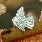 STERLING SILVER TWO WAVES C RING WITH STONES SOLID.925 /NEW JEWELERY  SIZE J - U