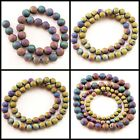 "Wholesale Rainbow Natural Smooth Druzy Agate Round Beads Spacer 15"", 8mm 12mm"