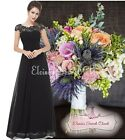 BNWT KATIE Black Lace Full Length Maxi Prom Evening Cruise Ballgown Dress 8 - 20