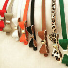 Ladies Womens Girls Candy Fashion Faux Leather Waist Skinny Thin Bow Buckle Belt
