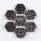 9mm Hexagon Black & Slivery Titanium Natural Agate Druzy Cabochon CAB BLSH003