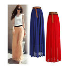 Valentines Double Layer Chiffon pleated Dresses Long Elastic Waist Maxi Dress US