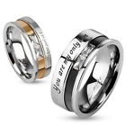 Engraved Two Toned Stainless Steel Band Ring