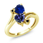1.41 Ct Blue Iolite Blue Simulated Sapphire 18K Yellow Gold Plated Silver Ring