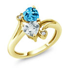 1.65 Ct Sky Blue Aquamarine Swiss Blue Topaz 18K Yellow Gold Plated Silver Ring