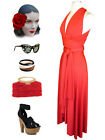 BRIGHT RED Multi-Way Wear INFINITY Marilyn HALTER HOLIDAY Party Dress