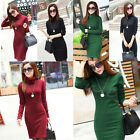 Thicken Long-sleeved Dress For Women Turtleneck Fleece Warm Casual Winter