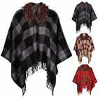 Womens Plus Size Tartan Check Printed Ladies Faux Fur Tassel Fleece Poncho Cape