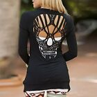 Women Casual Jacket Jumper Tops Long Sleeve Sexy Back Skull Cut Out Blouse Shirt