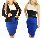 Womens Xmas Party Celebrity Bodycon Sleeveless Classy Contrast Pencil Midi Dress