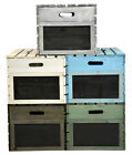 Vintage Wooden Crate with Lid Set of 3, Apple Crate, Farm Shop Style, 5 Colours
