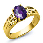1.00 Ct Oval Checkerboard Purple Amethyst 18K Yellow Gold Plated Silver Ring