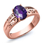 1.00 Ct Oval Checkerboard Purple Amethyst 18K Rose Gold Plated Silver Ring