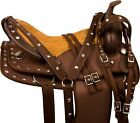USED WESTERN PLEASURE TRAIL HORSE SILVER SYNTHETIC BARREL RACING SADDLE TACK SET