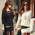 Elegant Womens Black Mini Dress Long Sleeve Tunic Top Blouse Jumper Pullover