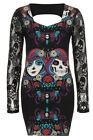 GOTH MINI DRESS BLACK DARK DAY OF THE DEAD TATTOO SLASH EMO ROCK SKULL LACE