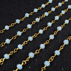 16Ft 3~4mm Light Blue Quartz Rondelles Rosary Beaded Chain Wire Wrapped BJT039