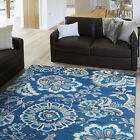 Floral Navy Blue Carpet Stems Petals  Leaves Paisley Contemporary Area Rug
