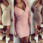 Womens Sexy V Neck Zipper Bodycon Cocktail Party Long Sleeve Mini Dress Casual