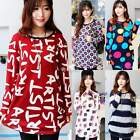 Trendy Round Neck Long Sleeve Print Casual Women Irregular Knitwear Sweater DZ88