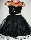 GIRLS BLACK SEQUIN SATIN TULLE PRINCESS EVENING PROM PARTY GOWN DRESS