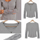 Hot Fashion Women Sexy Long Sleeve Casual Lace T Shirts Ladys Cotton Tops Blouse
