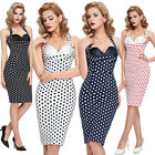 Women Vintage Retro 50's HOUFEWIFE Cocktail Cotton Party Pencil Dress