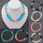 Casual Mens Womens Mixed Colorful Chunky Chain Bib Statement Rock Punk Necklace