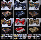 Striped Floral Paisley Men Woven Silk Wedding Self Bow Tie handkerchief Set #G6