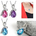 Excellent Women Ladies Chain Crystal Necklace Waterdrop Pendant Fashion Jewelry