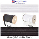 12mm FLAT ELASTIC 12 CORD BLACK OR WHITE PREMIUM QUALITY VARIOUS LENGTHS