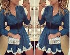 new style autumn blue V neck long sleeve textile printing lace dress Y-212