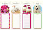 Magnetic Shopping List Jotter Pad Cake Kitty Puppy Rose with Pencil & Holder