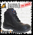 Mongrel Work Boots Zip Safety Steel Toe Lace Scuff Cap 461020 FREE Express Post