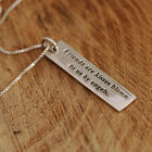 925 Sterling Silver Rectangle Inscriptional Friendship Pendant Necklace w Box