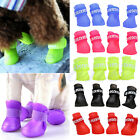 4Pcs Dog Candy Color Rain Boots Protective Rubber Pet Waterproof Shoes Booties